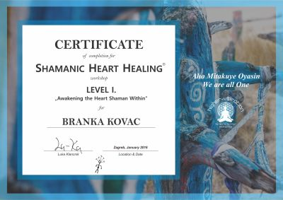 Certificate - Level 1 - Branka Kovac - 2016-1