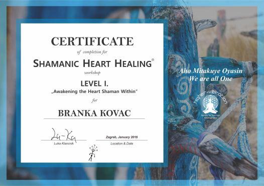 Certificate - Level 1 - Branka Kovac - 2016-1